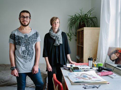 Sweden. Single mother and librarian, Linnea Tell, hosts Syrian gay Muslim artist, Alqumit Alhamad, who is now thriving in Malmö.