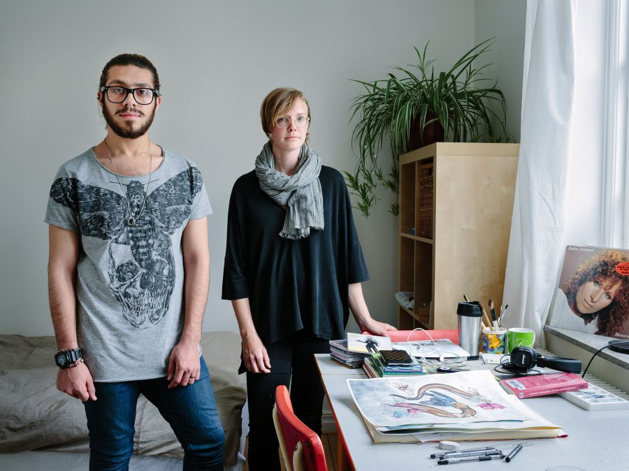 Sweden. Single mother and librarian, Linnea Tell, hosts Syrian gay Muslim artist, Alqumit Alhamad, who is now thriving in Malmö. Photo: Aubrey Wade / UNHCR