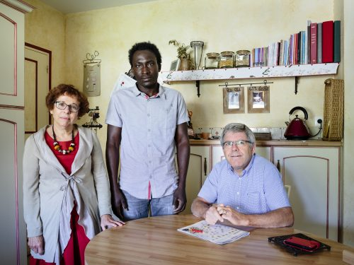 Portrait: Annick and Hubert host Farah, a refugee from Sudan, in Rivière, France.